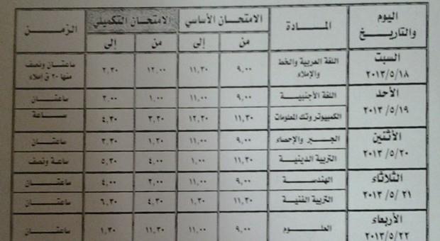 جدول امتحانات الشهادة الاعدادية محافظة الاسكندرية 2013 الترم التانى