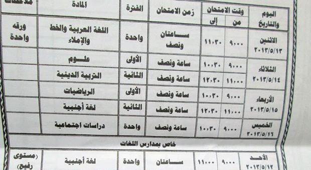 جدول امتحانات الشهادة الابتدائية محافظة الشرقية 2013 الترم التانى