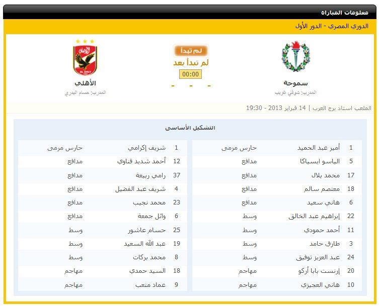 الاهلي و سموحه في الاسبوع الثالث من الدوري الممتاز 14/2/2013