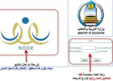 رابط نظام نور لنتائج الطلاب والطالبات بالسعودية للفصل الدراسى الثانى 1435