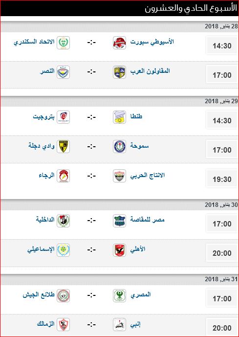 مواعيد مباريات الأسبوع 21 من الدورى المصرى والتوقيتات والملاعب 1
