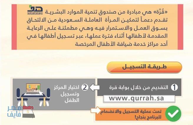 """طريقة التسجيل في برنامج """"قرة"""" للعاملات السعوديات 1439 2"""