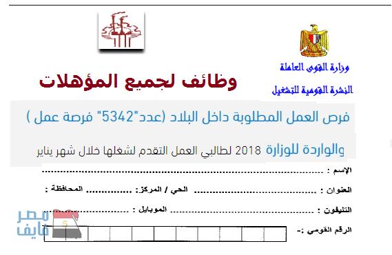 """وظائف القوى العاملة لجميع المؤهلات """"5342 وظيفة"""" لشهر يناير 2018"""