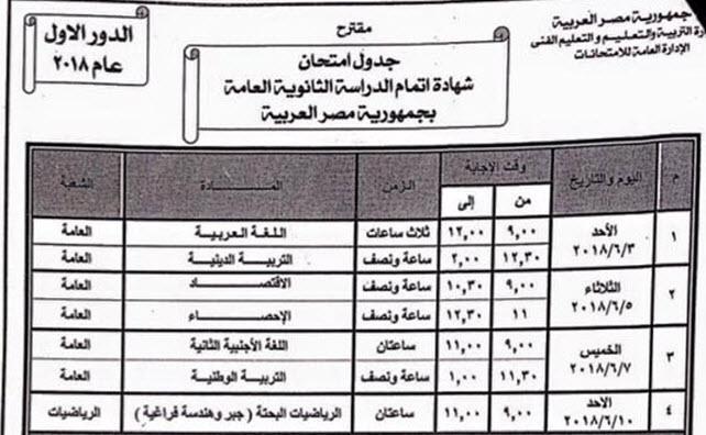 الجدول المقترح لامتحانات الثانوية العامة الدور الأول 2018
