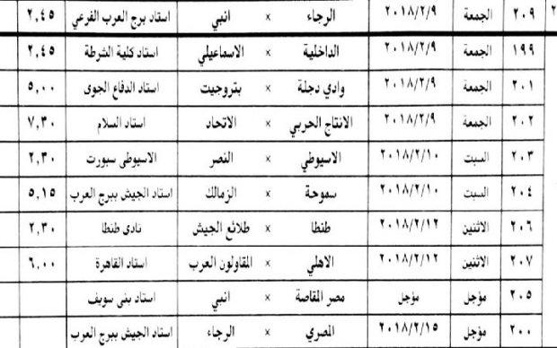 مواعيد مباريات الاهلى والزمالك وباقي الفرق فى الاسبوع ال 23 من مسابقة الدوري الممتاز