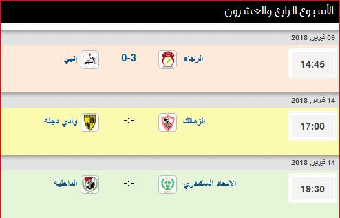 مواعيد مباريات الأسبوع الرابع والعشرون من الدورى المصرى
