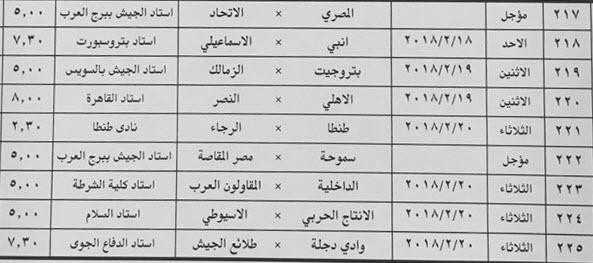 مواعيد مباريات الأسبوع الخامس والعشرون فى الدورى العام المصرى