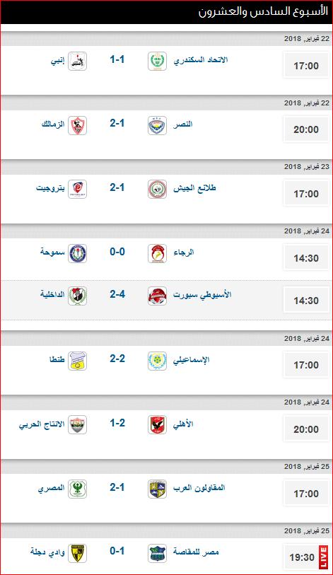 جدول ترتيب الدورى المصرى بعد نتائج مباريات الأسبوع السادس والعشرون 1