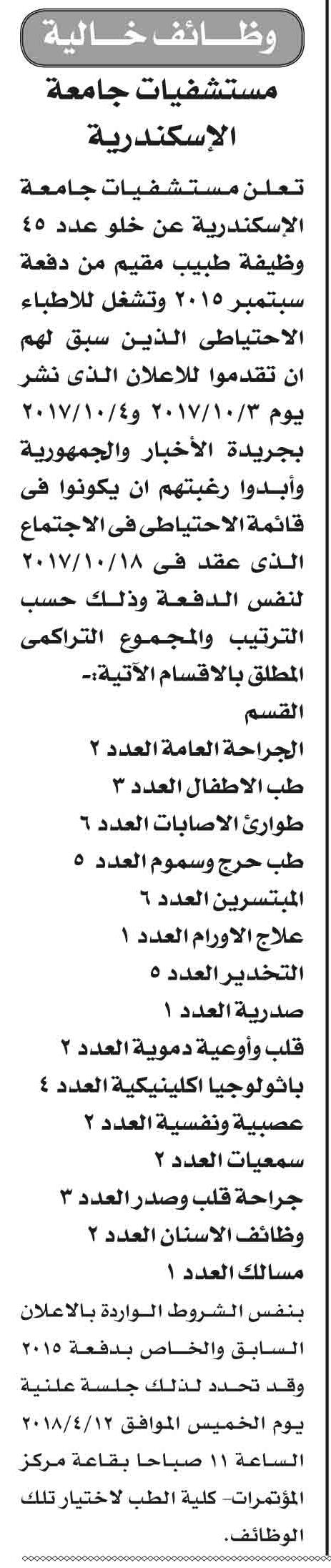 وظائف خالية بمستشفيات جامعة الإسكندرية 1