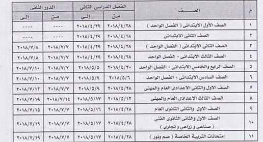 جداول امتحانات الفصل الدراسى الثانى 2018 لكل مراحل التعليم فى جميع المحافظات