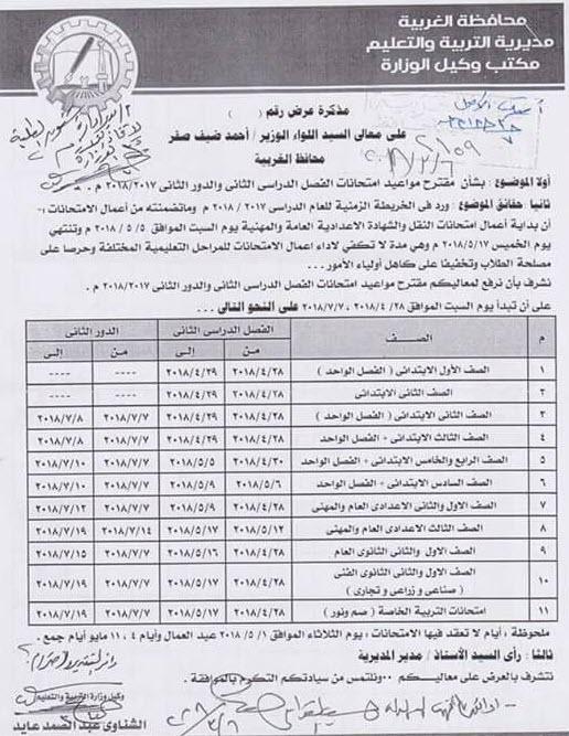 جداول امتحانات الفصل الدراسى الثانى 2018 لكل مراحل التعليم فى جميع المحافظات 1