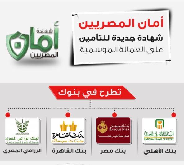 أماكن طرح شهادة أمان المصريين و شروط الحصول عليها والفئات التي تستهدفها 1