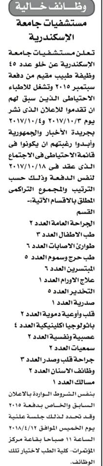 وظائف جامعة الاسكندرية