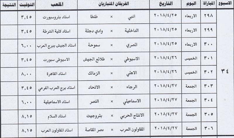مواعيد مباريات الأسبوع الأخير فى الدورى المصرى وتوقيت لقاء القمة