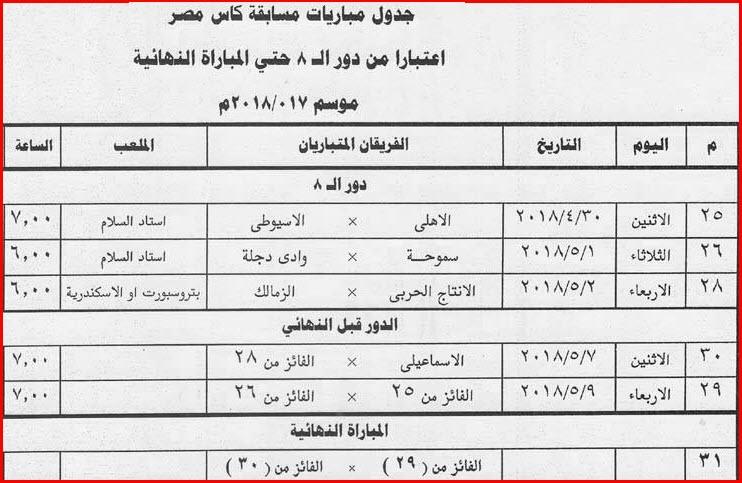 جدول مباريات مسابقة كأس مصر موسم 2018 من دور الـ 8 وحتى المباراة النهائية