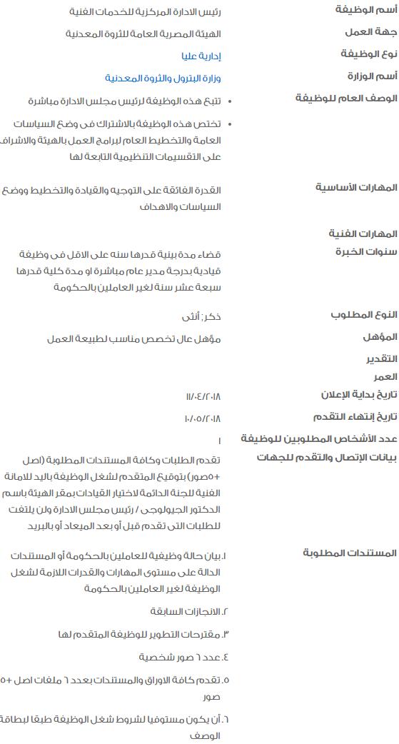 وظائف الحكومة المصرية 2018