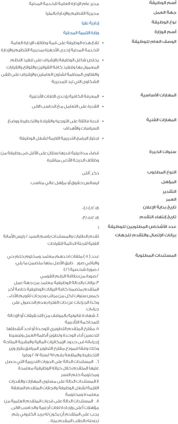 وظائف الحكومة المصرية 2018 - وظائف خالية في الحكومة المصرية لشهر مايو 2018