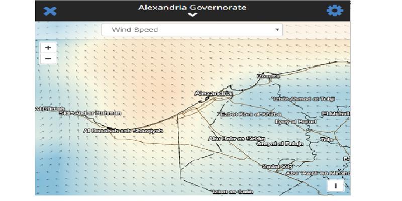 حركة الرياح على الاسكندرية فجر يوم 22
