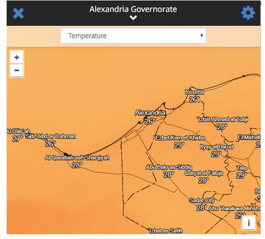 درجات الحرارة للاسكندرية مباشر من القمر الصناعي