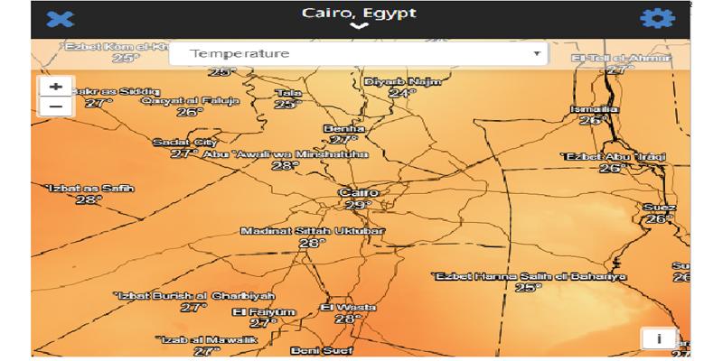 درجات الحرارة مباشر على القاهرة بالقمر الصناعي فجر اليوم