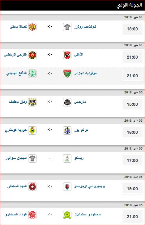 مواعيد مباريات الجولة الأولى فى دورى المجموعات ببطولة دورى أبطال أفريقيا 2018 1