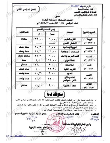 جدول امتحانات الصف السادس الابتدائي