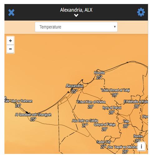 درجة حرارة الاسكندرية مباشر بالقمر الصناعي