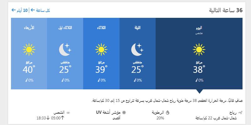 درجات الحرارة المتوقعة على أسوان لمدة 36 ساعة