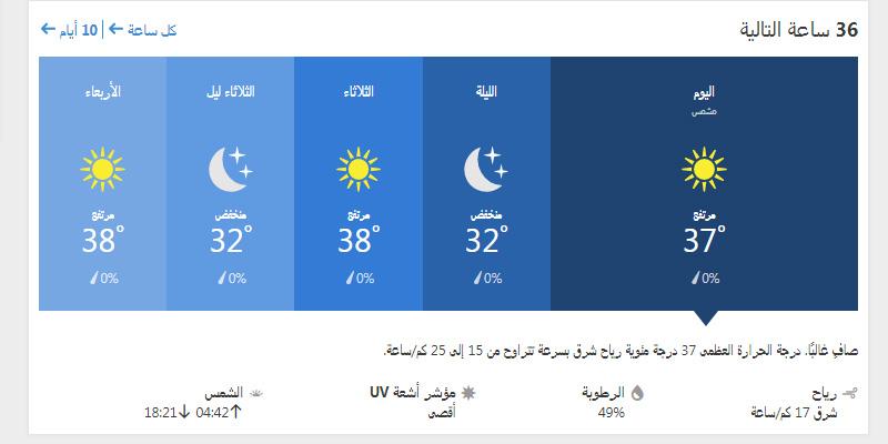 حالة الجو في الدوحة ولمدة ال 36 ساعة القادمة