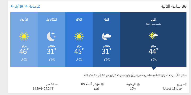 حالة الجو في الرياض ولمدة ال 36 ساعة القادمة