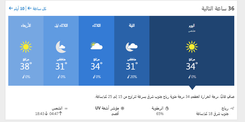 حالة الجو في الكويت ولمدة ال 36 ساعة القادمة