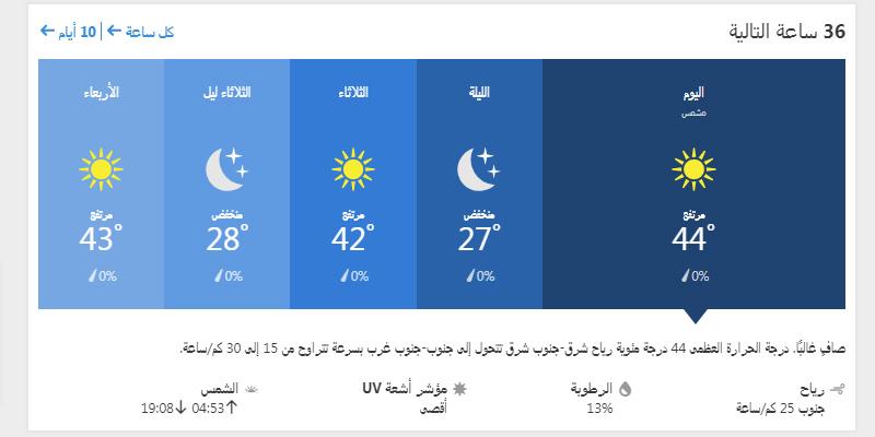 حالة الجو في بغداد ولمدة ال 36 ساعة القادمة