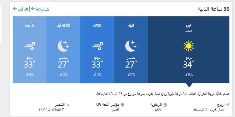 حالة الجو في جدة ولمدة ال 36 ساعة القادمة