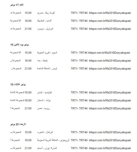 الجدول الكامل للمباريات المنقولة على قنواتTRT