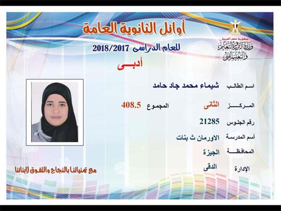 ننشر أسماء أوائل الثانوية العامة 2018 على مستوى محافظات جمهورية مصر العربية 26