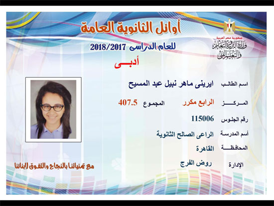 ننشر أسماء أوائل الثانوية العامة 2018 على مستوى محافظات جمهورية مصر العربية 35