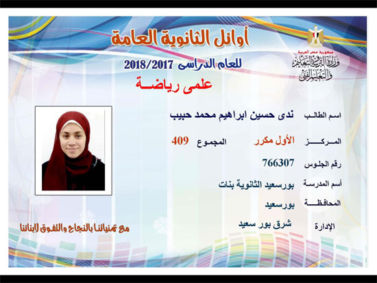 ننشر أسماء أوائل الثانوية العامة 2018 على مستوى محافظات جمهورية مصر العربية 11