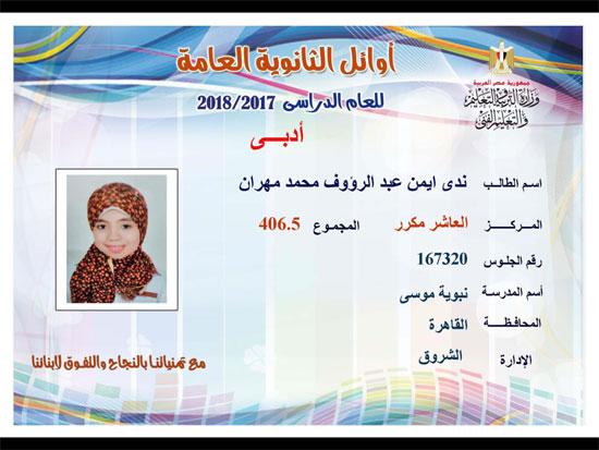 ننشر أسماء أوائل الثانوية العامة 2018 على مستوى محافظات جمهورية مصر العربية 43