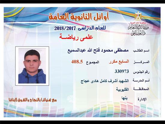 ننشر أسماء أوائل الثانوية العامة 2018 على مستوى محافظات جمهورية مصر العربية 18