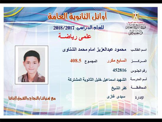 ننشر أسماء أوائل الثانوية العامة 2018 على مستوى محافظات جمهورية مصر العربية 21