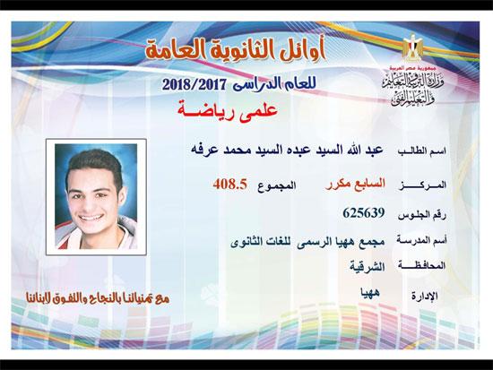 ننشر أسماء أوائل الثانوية العامة 2018 على مستوى محافظات جمهورية مصر العربية 22