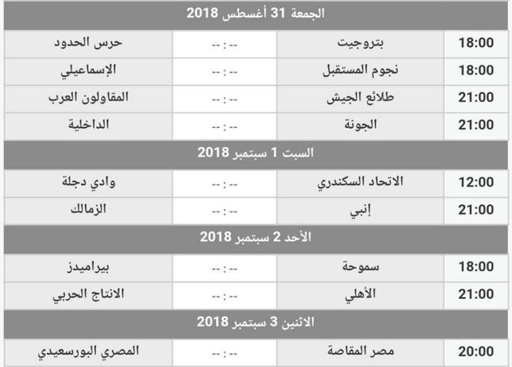 مواعيد مباريات الدوري المصري الأسبوع الخامس وجدول ترتيب الفرق