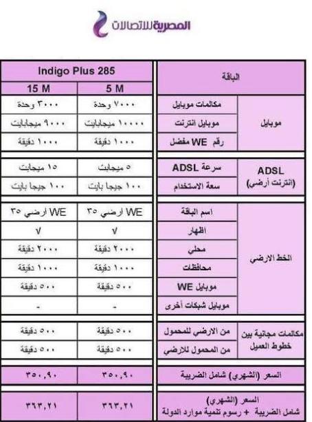 شرح نظام Indigo Plus 285 وسعر الباقة بعد الضريبة