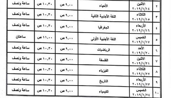 جدول الامتحان التجريبي للصف الأول الثانوي لنهاية الفصل الدراسي الأول 2019