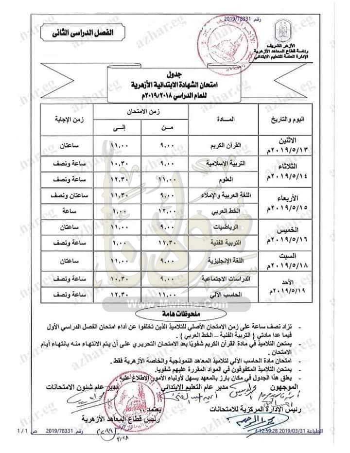 جدول امتحانات الشهادة الابتدائية الأزهرية الترم الثاني