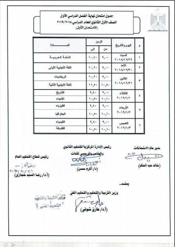 جدول امتحان الصف الاول الثانوي القديم