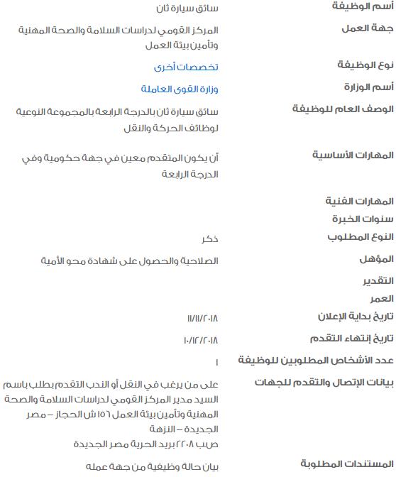 وظائف وزارة القوي العاملة لمن يبحث عن عمل 1