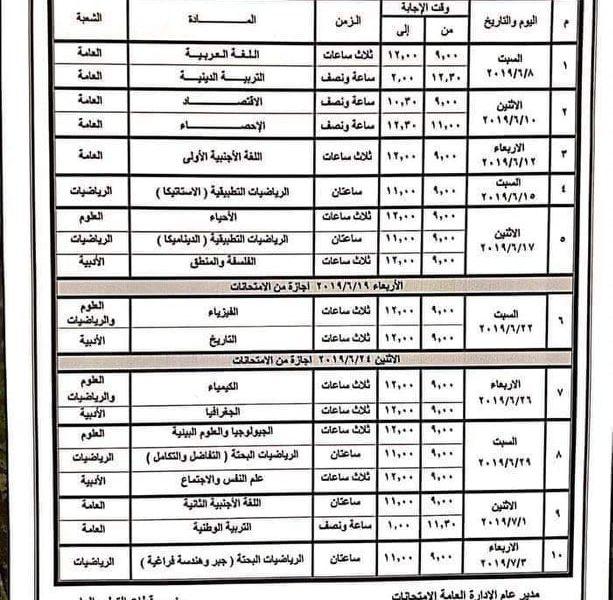 جدول امتحانات الثانوية العامة 2019 | جدول امتحانات الصف الثالث الثانوي 2019