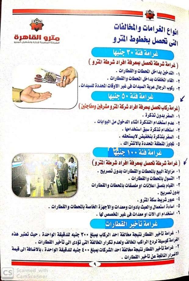غرامات مترو الأنفاق الجديدة وبيان الأربع مخالفات الجديدة