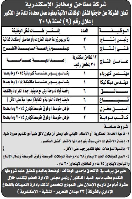 اعلانات وظائف الوسيط اليوم الاثنين 31/12/2018 لجميع المؤهلات 14